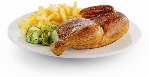 ½ KYLLING Med pommes frites, agurkesalat